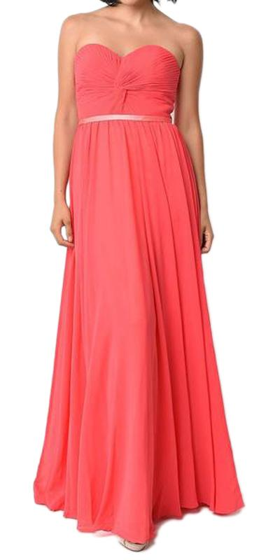 Twisted Bodice Chiffon Watermelon Bridesmaid Dress Long Strapless