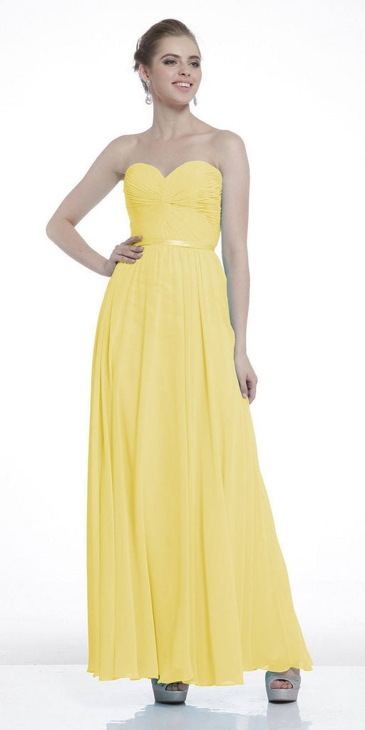 Twisted Bodice Chiffon Yellow Bridesmaid Dress Long Strapless
