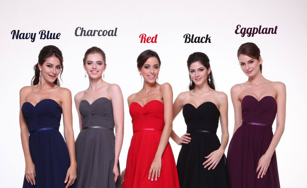 Twisted Bodice Chiffon Bridesmaid Dress Long Strapless