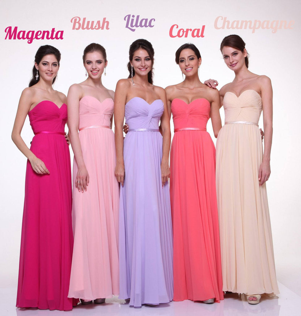 Twisted Bodice Chiffon Bridesmaid Dress Long Strapless Gallery