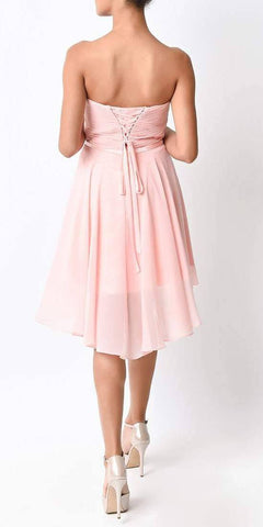 Short Twisted Bodice Chiffon Blush Back Bridesmaid Dress Strapless