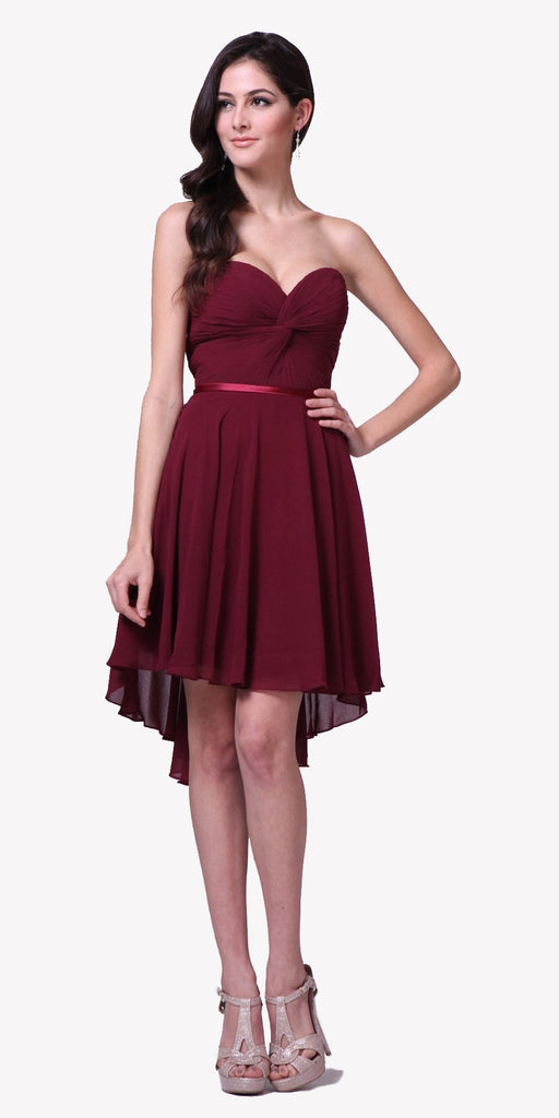 Cinderella Divine 7456 Short Twisted Bodice Chiffon Burgundy Bridesmaid Dress Strapless