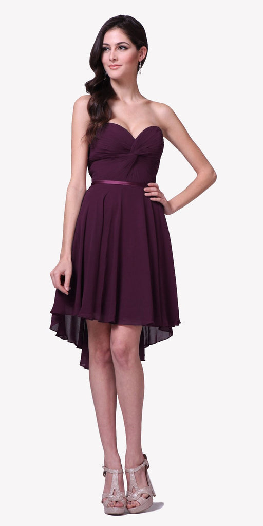 Cinderella Divine 7456 Short Twisted Bodice Chiffon Eggplant Bridesmaid Dress Strapless