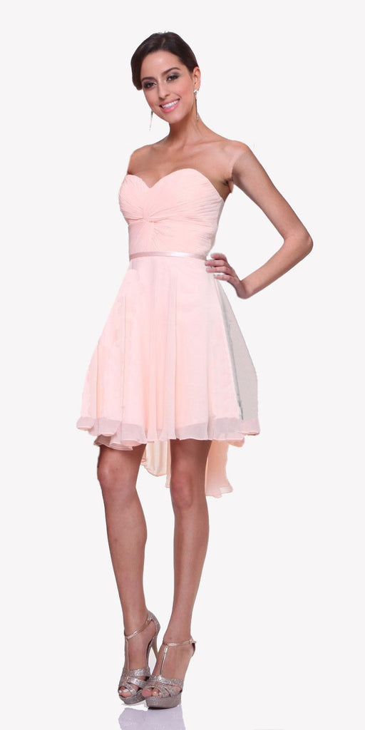 Cinderella Divine 7456 Short Twisted Bodice Chiffon Light Peach Bridesmaid Dress Strapless