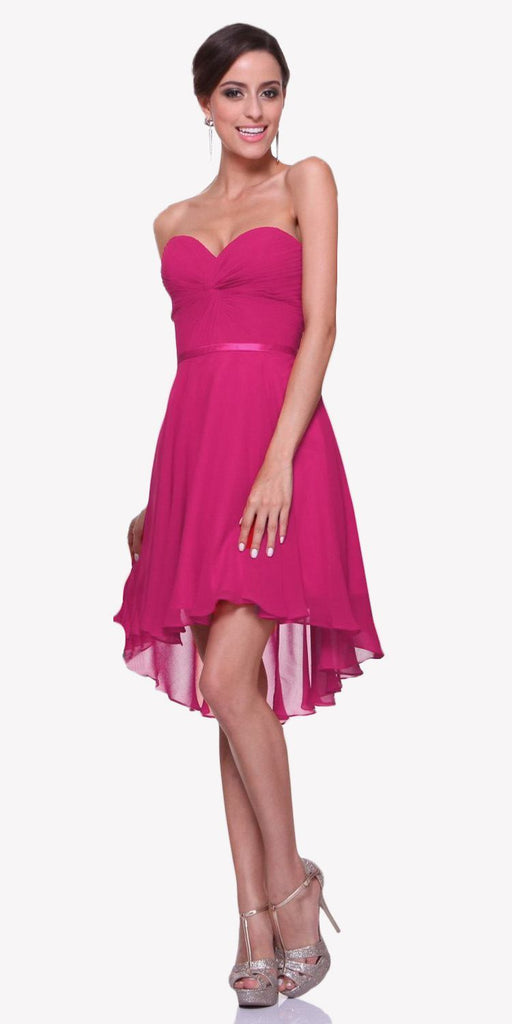 Cinderella Divine 7456 Short Twisted Bodice Chiffon Magenta Bridesmaid Dress Strapless