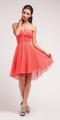 Cinderella Divine 7456 Short Twisted Bodice Chiffon Watermelon Bridesmaid Dress Strapless
