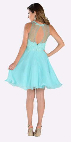 Poly USA 7456 Short A Line Chiffon Prom Dress Aqua Sheer Neck Back View