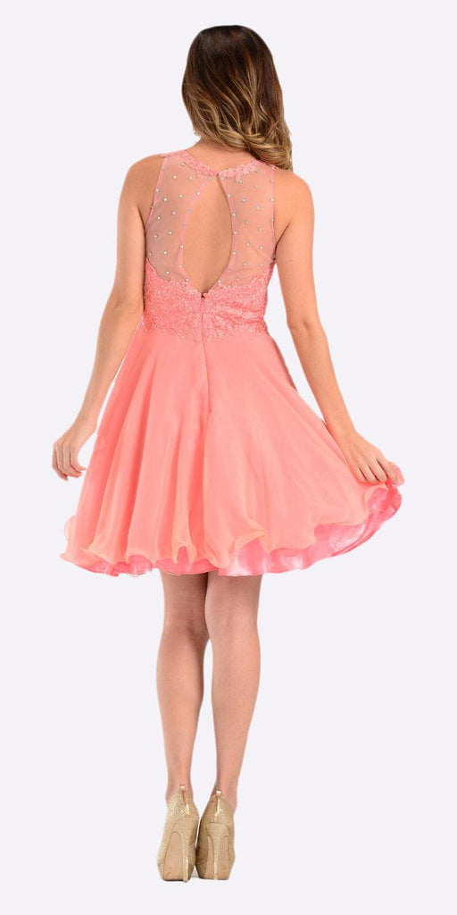 Poly USA 7456 Short A Line Chiffon Prom Dress Coral Sheer Neck Back View
