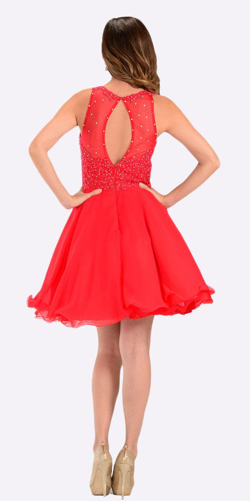 Poly USA 7456 Short A Line Chiffon Prom Dress Red Sheer Neck Back View