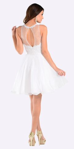 Poly USA 7456 Short A Line Chiffon Prom Dress White Sheer Neck Back View