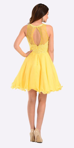 Poly USA 7456 Short A Line Chiffon Prom Dress Yellow Sheer Neck Back View