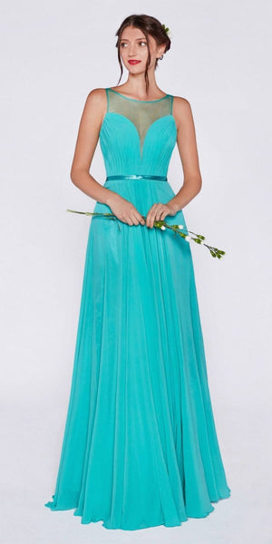 Cinderella Divine 7458 Illusion Sweetheart Evening Dress Long Mint Chiffon Back View