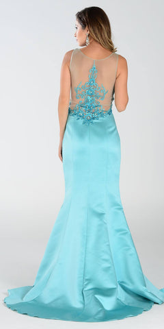 Poly USA 7460 Long Mermaid Satin Prom Dress Aqua Sheer Neck Back View