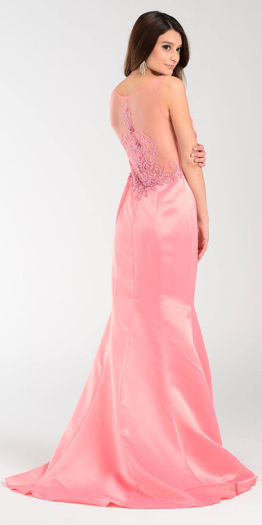 Poly USA 7460 Long Mermaid Satin Prom Dress Coral Sheer Neck Back View
