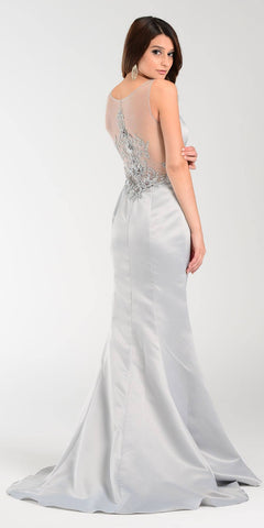 Poly USA 7460 Long Mermaid Satin Prom Dress Silver Sheer Neck Back View