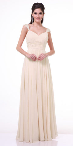 Cinderella Divine 7461 Beaded Cap Sleeves Sweetheart Bridesmaid Dress Champagne Chiffon