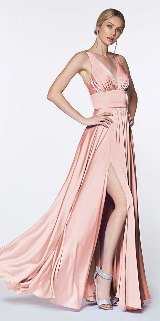 Cinderella Divine 7469 Sexy Long Prom Dress Blush Evening Satin Gown