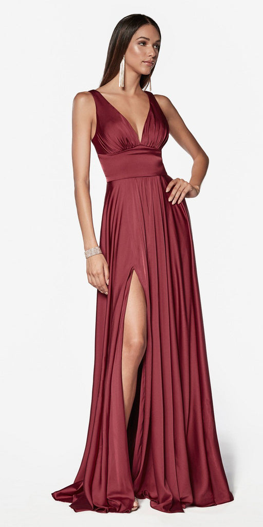 Cinderella Divine 7469 Sexy Long Prom Dress Burgundy Evening Satin Gown