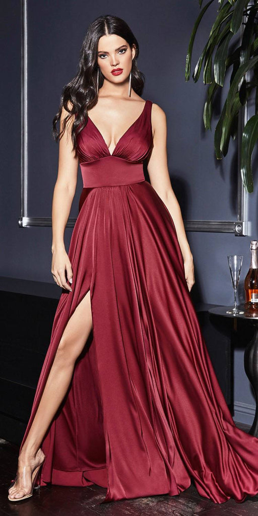 Cinderella Divine 7469 Long Burgundy Bridesmaid Dress A-Line V-Back