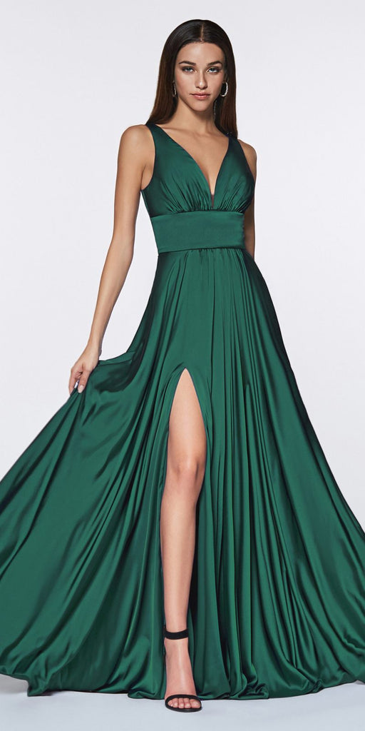 Cinderella Divine 7469 Sexy Long Prom Dress Emerald Green Evening Satin Gown