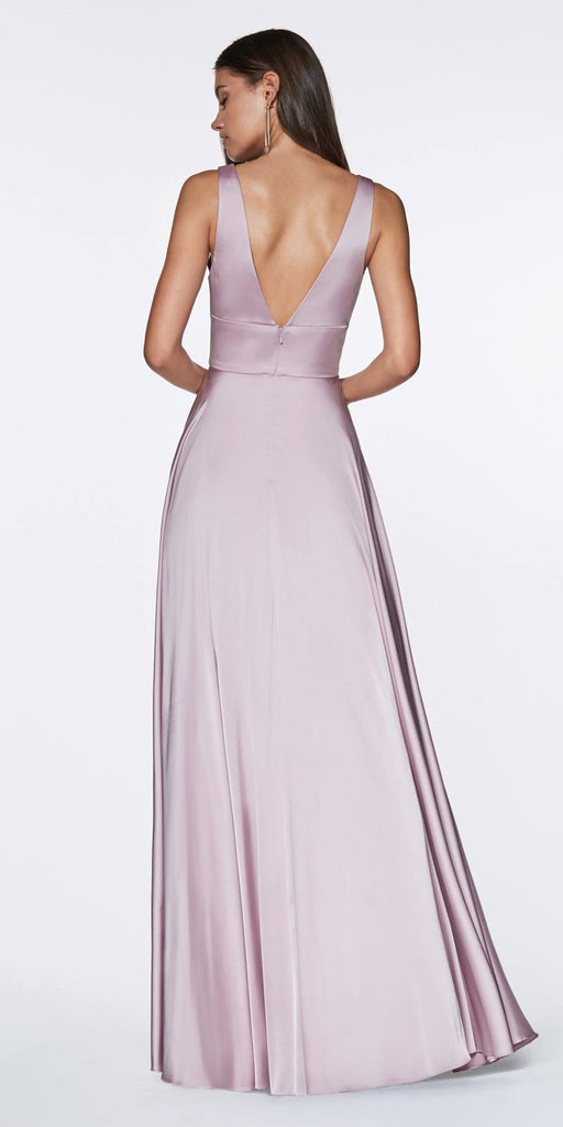 Cinderella Divine 7469 Sexy Long Prom Dress Dark Mauve Evening Satin Gown Back View