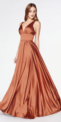 Satin Long A-Line Gown Dusty Rose Leg Slit Criss Cross Back