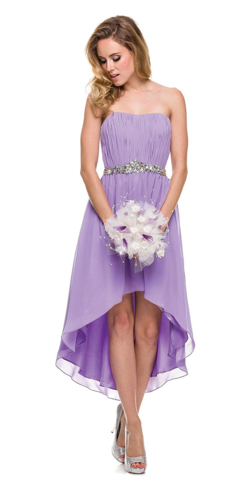 Asymmetrical Strapless Ruched Bodice Lilac Homecoming Dress