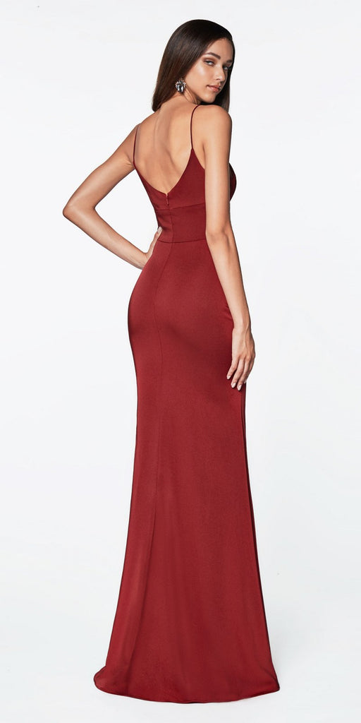Cinderella Divine 7470 Fitted Sweetheart Neckline Burgundy Gown with Leg Slit and Open Back