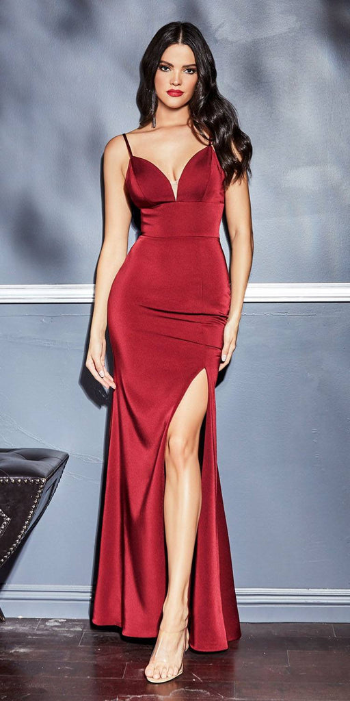 Cinderella Divine 7470 Long Sheath Burgundy Dress Sweetheart Neckline Leg Slit and Open Back