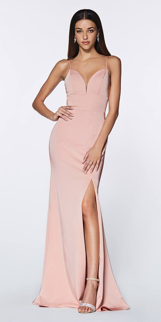 Cinderella Divine 7470 Fitted Sweetheart Neckline Dusty Rose Gown with Leg Slit and Open Back