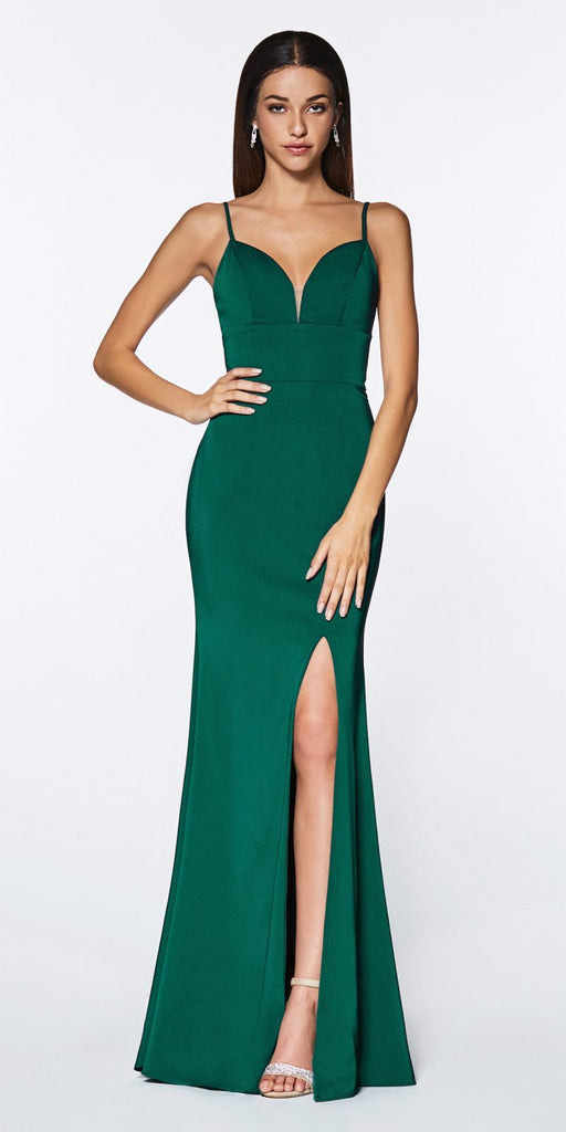 Cinderella Divine 7470 Fitted Sweetheart Neckline Emerald Gown with Leg Slit and Open Back