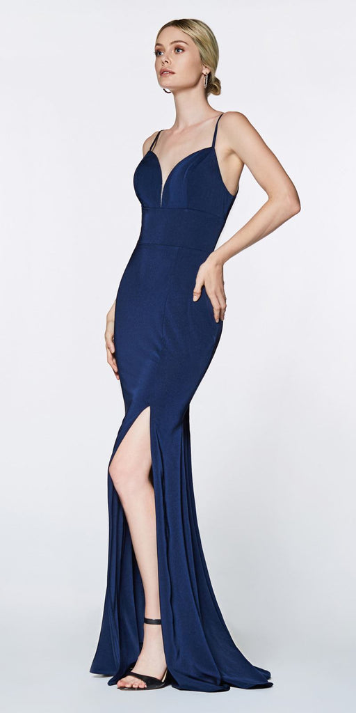 Cinderella Divine 7470 Fitted Sweetheart Neckline Navy Blue Gown with Leg Slit and Open Back