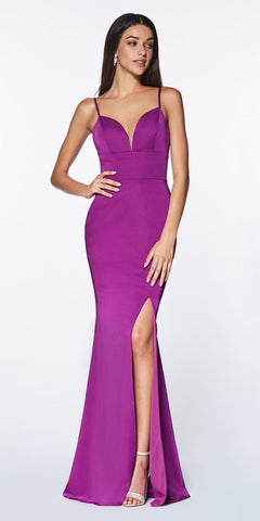 Cinderella Divine 7470 Fitted Sweetheart Neckline Orchid Gown with Leg Slit and Open Back