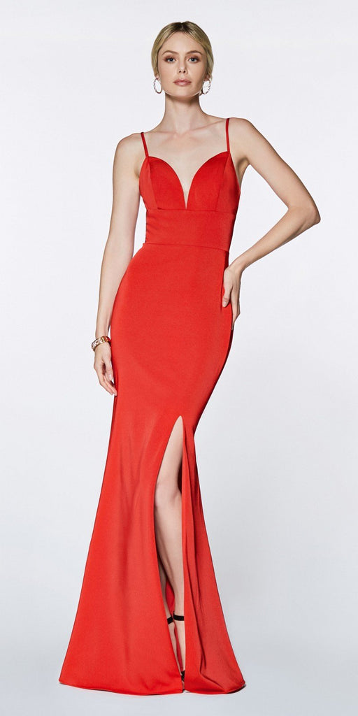 Cinderella Divine 7470 Fitted Sweetheart Neckline Red Gown with Leg Slit and Open Back