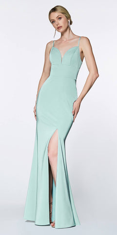 Cinderella Divine 7470 Fitted Sweetheart Neckline Seafoam Blue Gown with Leg Slit and Open Back
