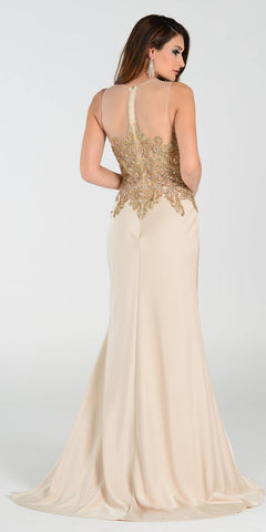 Poly USA 7470 Glamorous Column Dress Champagne Long Embroidered Top Back View
