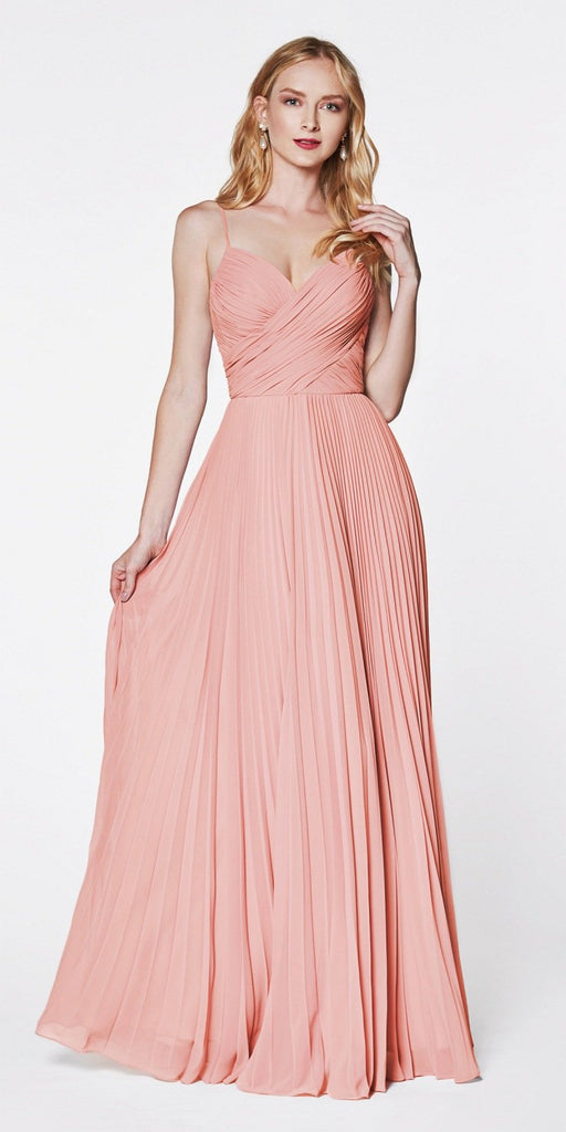 Cinderella Divine 7471 Long Pleated Semi Formal Dress Spaghetti Straps Blush