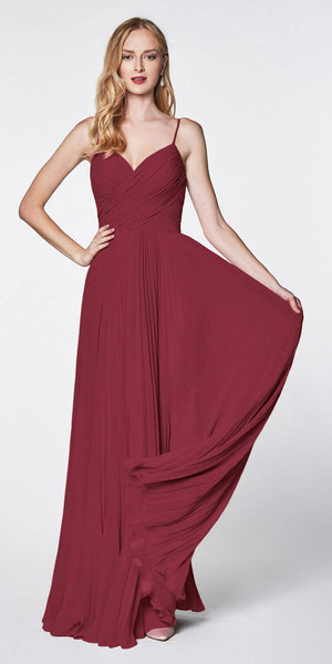 Cinderella Divine 7471 Long Pleated Semi Formal Dress Spaghetti Straps Burgundy