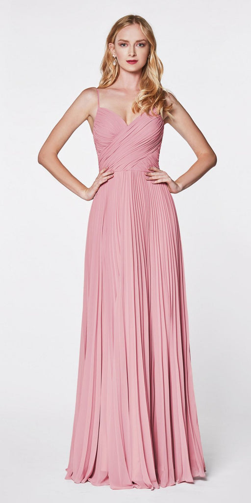 Cinderella Divine 7471 Long Pleated Semi Formal Dress Spaghetti Straps Dusty Rose