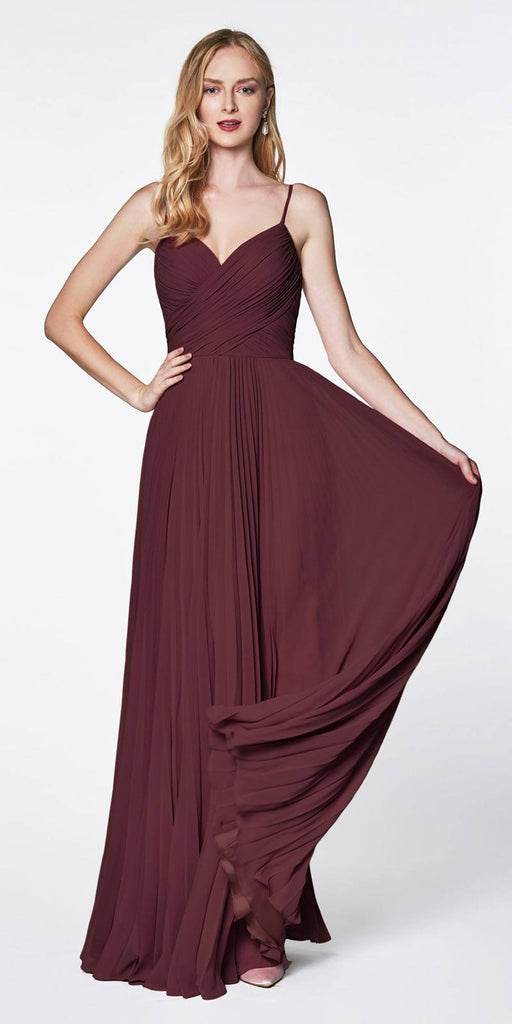 Cinderella Divine 7471 Long Pleated Semi Formal Dress Spaghetti Straps Eggplant