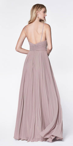 Cinderella Divine 7471 Long Pleated Semi Formal Dress Spaghetti Straps Mauve