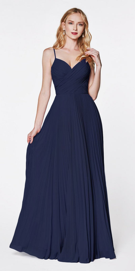 Cinderella Divine 7471 Long Pleated Semi Formal Dress Spaghetti Straps Navy Blue
