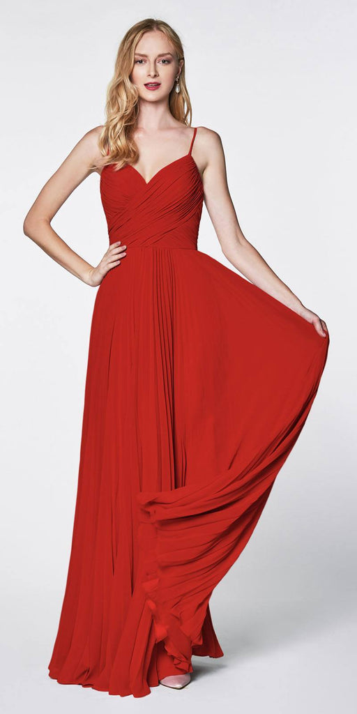 Cinderella Divine 7471 Long Pleated Semi Formal Dress Spaghetti Straps Red