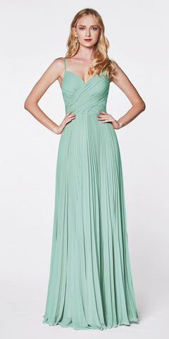 Cinderella Divine 7471 Long Pleated Semi Formal Dress Spaghetti Straps Sage