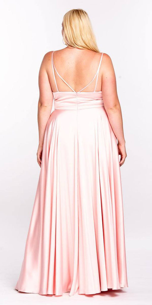 Cinderella Divine 7472 Floor Length Spaghetti Strap Blush Prom Dress V Neck