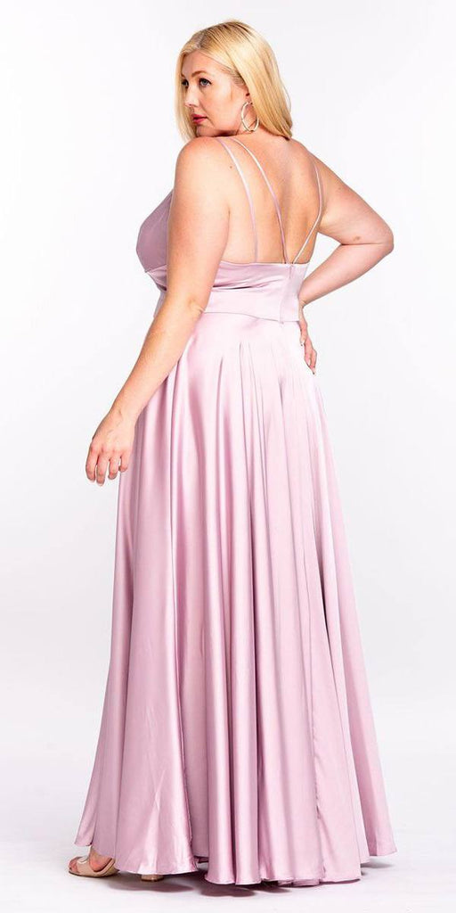 Cinderella Divine 7472 Floor Length Spaghetti Strap Mauve Prom Dress V Neck