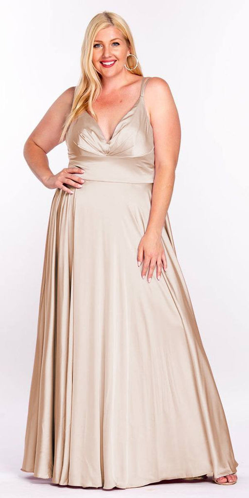 Cinderella Divine 7472 Floor Length Spaghetti Strap Nude Prom Dress V Neck