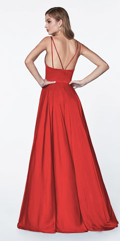 Cinderella Divine 7472 Floor Length Spaghetti Strap Red Prom Dress V Neck