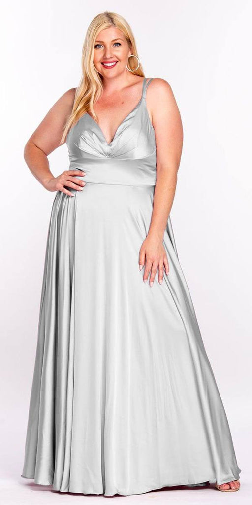 Cinderella Divine 7472 Floor Length Spaghetti Strap Silver Prom Dress V Neck
