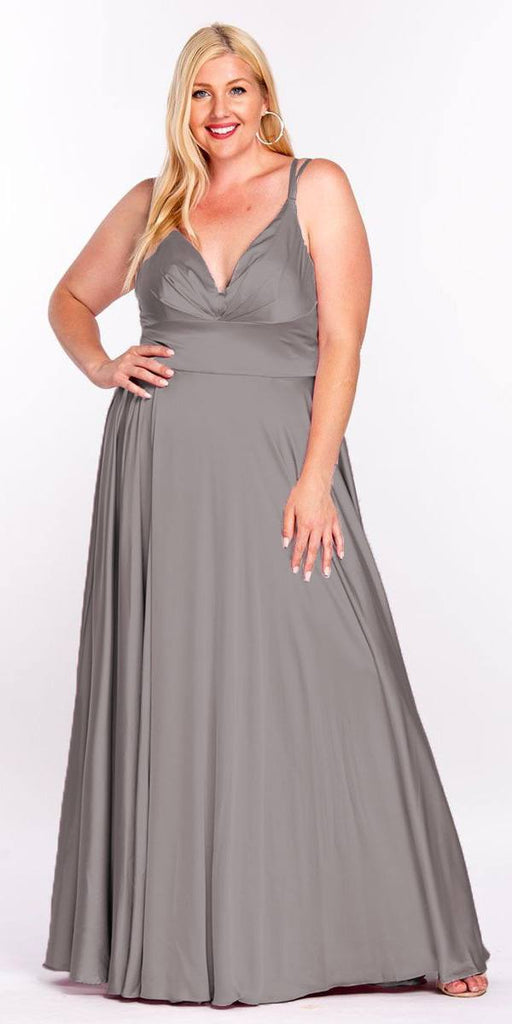 Cinderella Divine 7472 Floor Length Spaghetti Strap Smoke Prom Dress V Neck